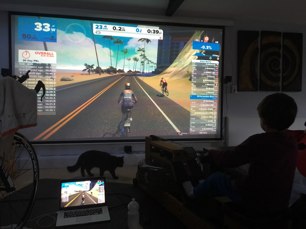 Rowing with the WaterRower in Zwift